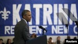 El presidente Barack Obama pronuncia discurso en nuevo Centro Comunitario del Lower Ninth Ward en Nueva Orleans, Luisiana.
