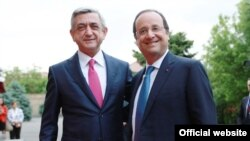 President of France Francois Hollande and President of Armenia Serzhe Sargsyan, Yerevan, Armenia, May 13, 2014