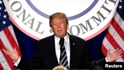 Prezidan Donald Trump ki te pran lapawòl nan retrèt palmantè repibliken yo. (Foto: Premye fevriye 2018).