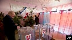 Polling station in Perevalne, Ukraine
