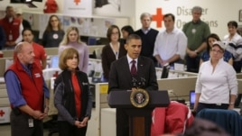 President Barack Obama speaks during visit to Red Cross in Washington Oct. 30, 2012