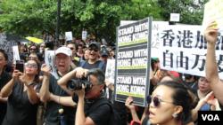 700多纽约港人集会支持香港(美国之音久岛拍摄)