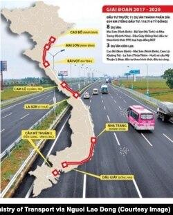 Đồ học của dự án cao tốc Bắc-Nam. (Ảnh chụp màn hình Người Lao Động)