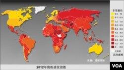 2012年腐败感觉指数(图片来源:透明国际)