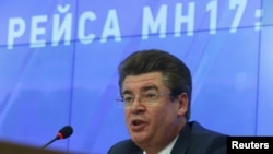 FILE - Oleg Storchevoy, deputy head of Russian Federal Aviation Agency Rosaviatsiya, is seen speaking at a news conference on the downing of Malaysian Airlines flight MH17, in Moscow, Russia, July 16, 2015.