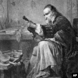 A print of master violin maker Antonio Stradivari (1644-1737) examining an instrument.