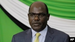 Independent Electoral and Boundaries Commission (IEBC) Chairperson Wafula Chebukati, addressing media in Nairobi, Kenya, Oct. 18, 2017, on status of preparedness for the rerun of elections on Oct.26.