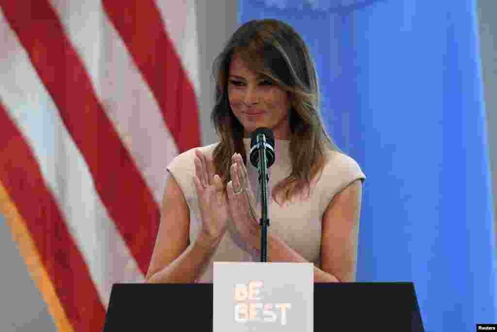 """在美国纽约市举行的联合国大会期间,美国第一夫人梅拉尼娅·特朗普在美国驻联合国代表团主办的招待会上发表主题为""""成为最佳者""""的演讲(2018年9月26日)。"""