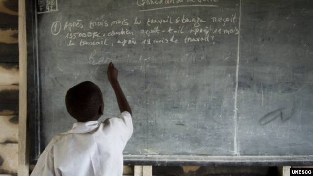 Congolese boy at school in Kitschoro