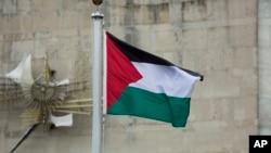 지난달 30일 유엔 본부 건물에 팔레스타인 국기가 휘날리리고 있다. (자료사진)