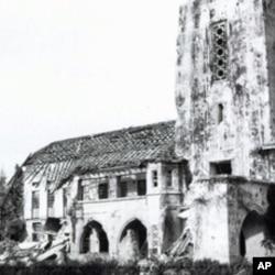 二战期间遭到破坏的仰光大学行政楼