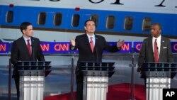 Candidatos presidenciales republicanos Mario Rubio, Ted Cruz y Ben Carson, durante uno de los debates de la campaña 2016.