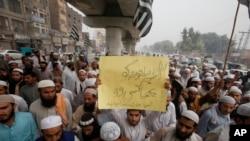 آسیہ بی بی کی بریت کے خلاف ملک بھر میں شدید احتجاج ہوا تھا (فائل فوٹو)