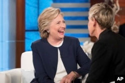 Hillary Clinton speaking to TV host Ellen Degeneres.