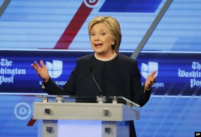 Democratic presidential candidate, Hillary Clinton speaks at the Univision, Washington Post Democratic presidential debate at Miami-Dade College in Florida, March 9, 2016.