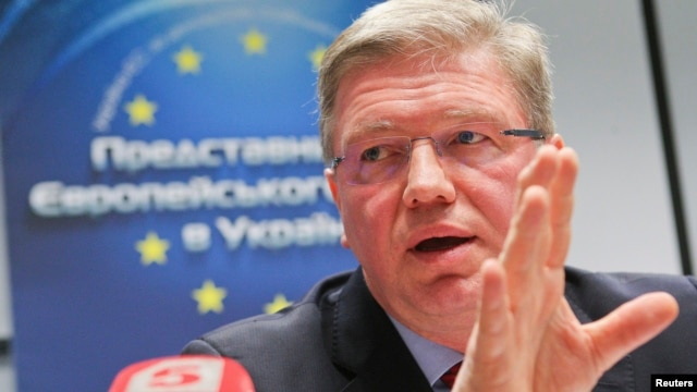FILE - EU enlargement commissioner Stefan Fule speaks during a news conference in Kyiv, Ukraine, Feb. 13, 2014.