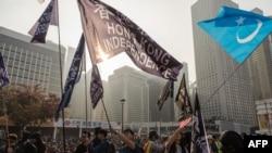 """香港抗議者星期天(12月22日)舉行""""聲援維吾爾族人權集會""""。"""