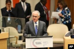 FILE - Australia Prime Minister Malcolm Turnbull speaks during the Summit for Refugees and Migrants at U.N. headquarters, Sept. 19, 2016.