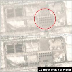 1월11일자 '플래닛'의 위성사진 점 형태로 집결한 병력(붉은 원 안)이 보인다. 아래 사진에서 이들 병력의 대열이 이동한 것을 볼 수 있다. (사진제공=Planet)
