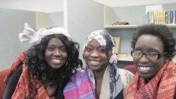From left, Rita Achiro, Ehklas Ahmed and Judith Abdalla sing in the Pihcintu Multicultural Children's Chorus