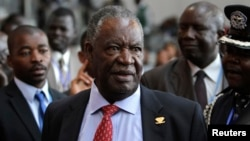 FILE: Zambia's President Michael Sata speaks to journalists at the 18th African Union summit in Ethiopia's capital, Addis Ababa, Jan. 2012 file photo.