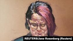 Sudska skica Kortni Ros, partnerke Džordža Flojda, tokom četvrtog dana suđenja po optužbama za njegovo ubistvo (REUTERS/Jane Rosenberg)