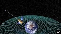Grafički koncept sonde Gravity Probe B dok kruži oko Zemlje, mjereći izobličenje prostorno-vremenskog kontinuuma