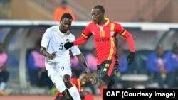 Les Braves Warriors de la Namibie se sont qualifiés pour les ¼ de finale du CHAN 2018, en battant jeudi 1-0 les Cranes ougandais au Maroc, 18 janvier 2018. (Twitter/CAF)