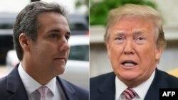 Pengacara Michael Cohen (kiri) dan Presiden AS Donakd Trump