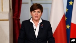 FILE - Polish Prime Minister Beata Szydlo, Feb. 3, 2016.