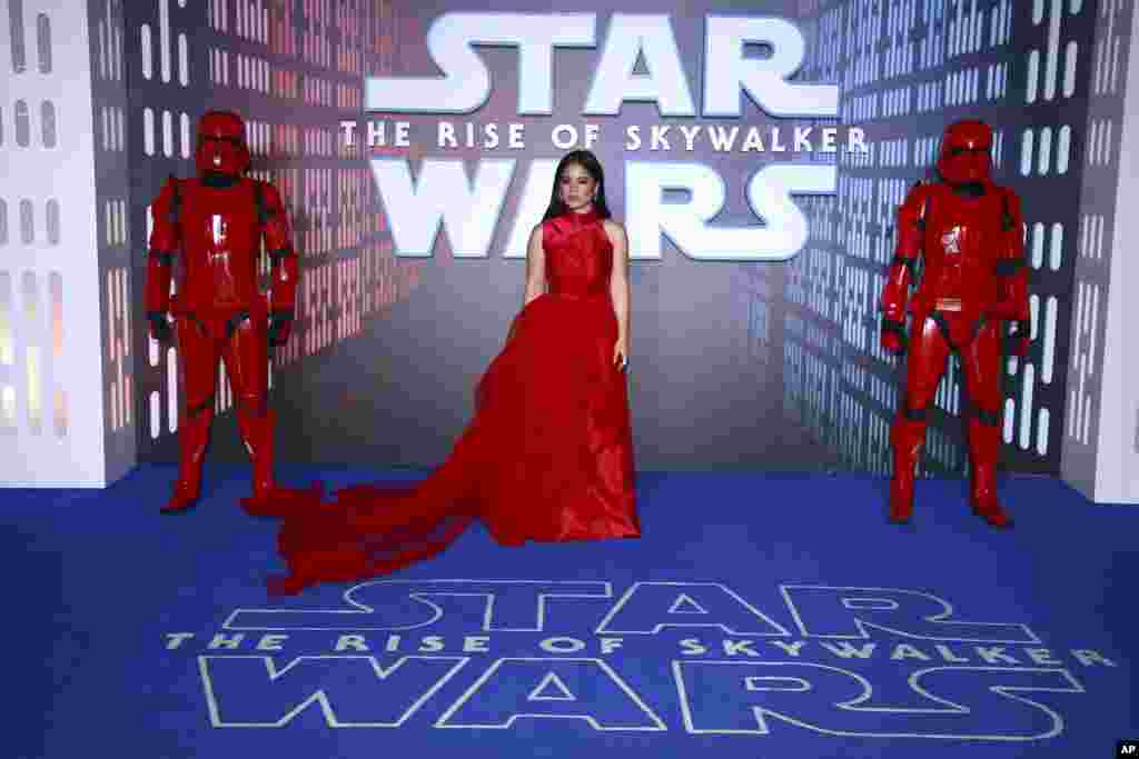 "Actress Kelly Marie Tran poses for photographers upon arrival at the premiere for the film ""Star Wars: The Rise of Skywalker,"" in central London."