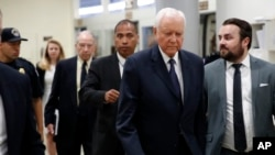 Sen. Orrin Hatch, R-Utah (2nd-R), and Senate Judiciary Committee Chuck Grassley, R-Iowa (C-Rear) arrive to view the FBI report on sexual misconduct allegations against Supreme Court nominee Brett Kavanaugh, on Capitol Hill, Oct. 4, 2018 in Washington.