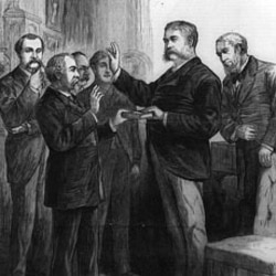 Vice President Chester Arthur takes the oath of office after the death of President James Garfield