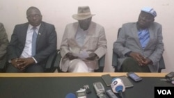 Jacob Ngarivhume, Didymus Mutasa and Morgan Tsvangirai at a press conference in Harare today.