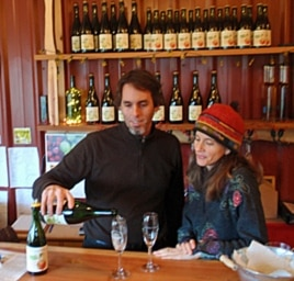 Farmers Crystie and Keith Kisler in the tasting room of their new cidery which was made possible by a local 'angel' investor.