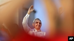 라울 카스트로 쿠바 국가평의회 의장이 1일 아바나에서 열린 노동절 집회에 참석했다.