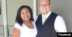 FILE - Josh Holt, shown with Thamara, has been jailed in Venezuela since June 30 on weapons charges.