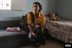 Nidal, 15, dreams of becoming an engineer. He has not been able to attend full-time education since he fled Syria with his family in 2011, Beirut, Lebanon, Sept. 17, 2015. (VOA / J. Owens)