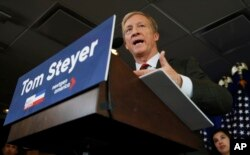 FILE - Billionaire environmental activist Tom Steyer speaks during a news conference in Washington, Jan. 8, 2018.