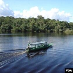 Sungai Amazon di Brazil. Seiring meningkatnya pengrusakan hutan di Amazon, jumlah penderita malaria di daerah ini juga meningkat.