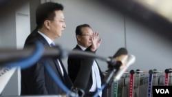 朝鮮副外相金桂冠(右)6月18日抵達北京。(照片來源:美聯社)