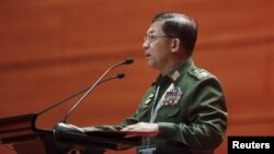 Myanmar's Commander-in-Chief Senior General Min Aung Hlaing pushes back against any quick changes to the constitution on Feb. 22, 2016.