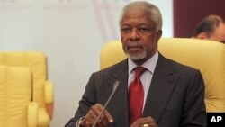 UN and Arab League envoy to Syria Kofi Annan , listens during meeting of Committee of Ministers of the Arab League to discuss situation in Syria, April 17, 2012.