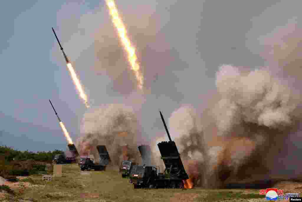 "North Korean military conducts a ""strike drill"" for multiple launchers and tactical guided weapon into the East Sea during a military drill, May 4, 2019, in this photo supplied by the Korean Central News Agency (KCNA)."