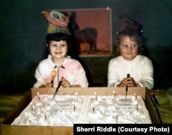 """Sherri Riddle, left, celebrates her first """"real"""" birthday in 1972. Her birthday is February 29."""