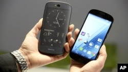 Russian-made Yotaphone unveils its new model, the Yotaphone 2 in Helsinki, Finland, Jan. 29, 2015.