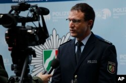 Police spokesman Christoph Gilles speaks during an interview with The Associated Press in Cologne, Germany, Jan. 6, 2016.