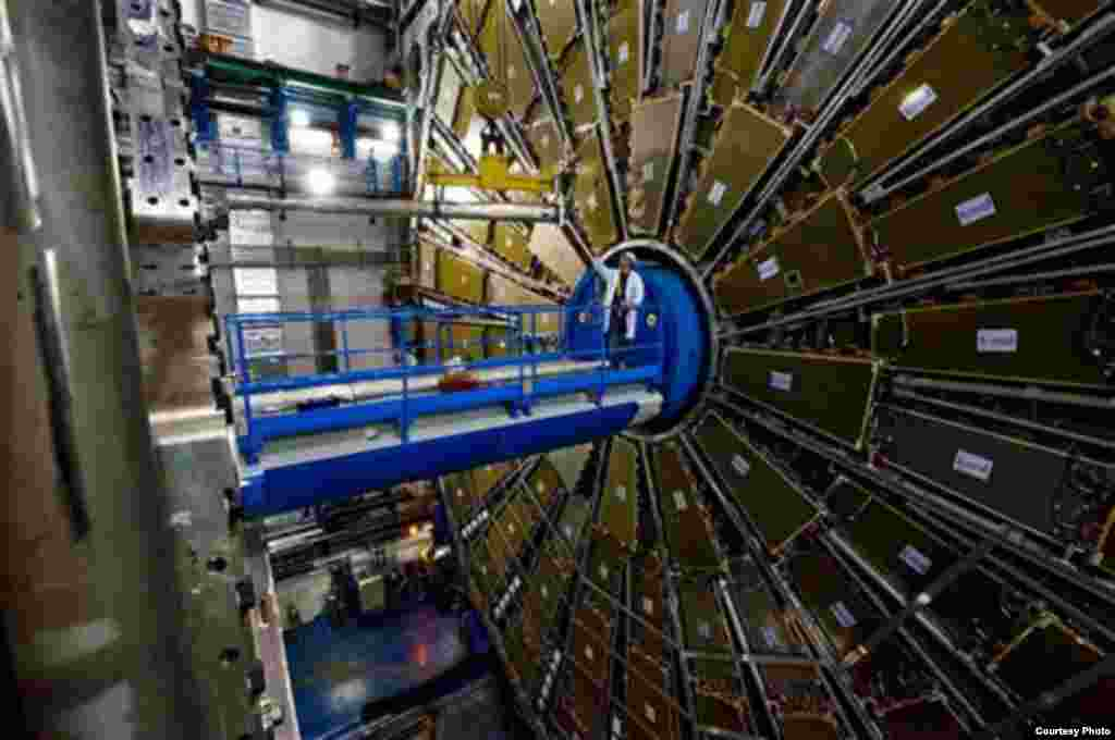 Researchers working with a $5.5 billion atom smasher at the CERN particle physics lab in Geneva observed the elusive Higgs boson particle, which holds the key to explaining how other elementary particles get their mass. (Maximilien Brice and Claudia Marce
