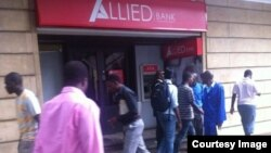 The Zimbabwe Allied Bank Group's branch which was attacked by customers and property worth thousands of dollars destroyed. (Photo/VOA Listener)