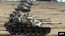 تانک های ارتش ترکیه در مرز سوریه